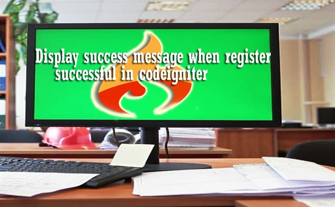 Display success message when register successful in