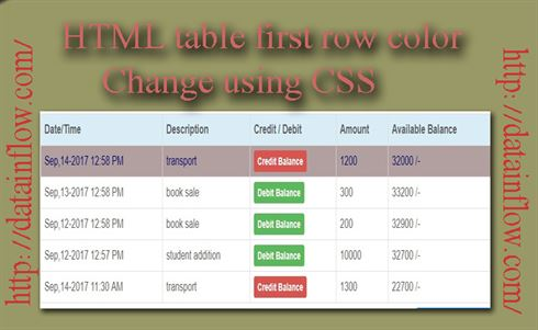 Html table first row color change using css datainflow for Html table row