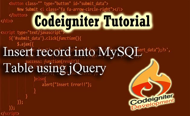 Insert record into MySQL table using jQuery in Codeigniter - DataInFlow