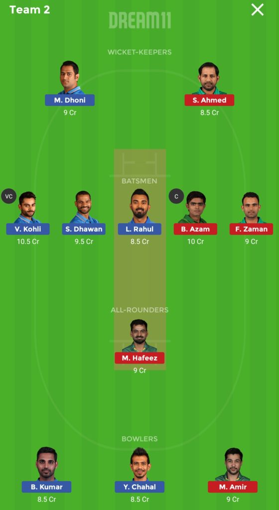 India vs Pakistan Dream 11 team 2 560x1024 - India vs Pakistan Dream 11 Match 22 Prediction